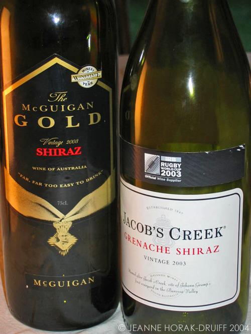 Australian shiraz bottles
