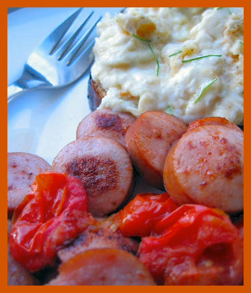 Sausage egg and tomato breakfast