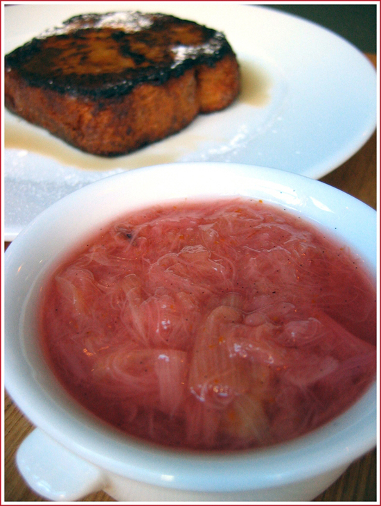 French toast with rhubarb compote