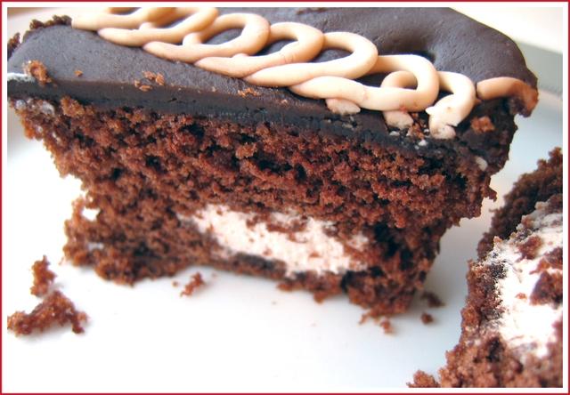 Hostess cupcakes cut