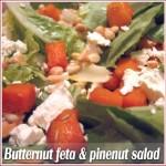 Roasted butternut, feta and pinenut salad