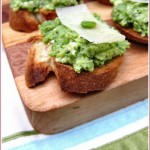 Broad bean crostini and cocktails – for one!