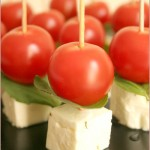 Vampire-slaying tomato, basil & marinated feta skewers