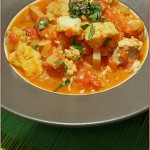 Tomato saffron fish stew with anchovy pesto – for those needing comfort