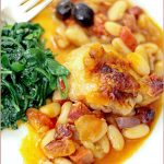 Spanish chicken bake with butter beans, chorizo and olives