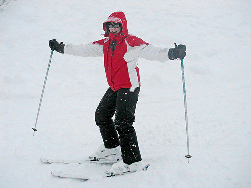 Jeanne skiing on Crot