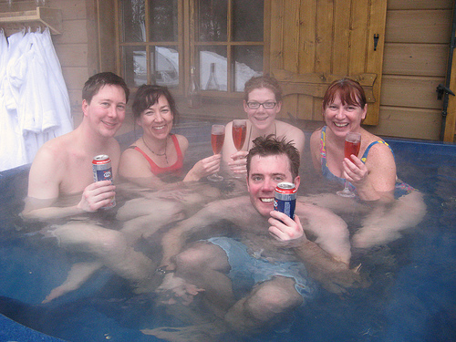 Team Faff in the hot tub