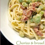 Creamy chorizo and broad bean pasta