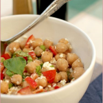 Chickpea salad with tomatoes, basil and feta
