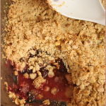 Spiced pear, blackberry & pistachio crumble