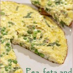 Pea, feta cheese and basil frittata