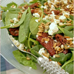 Spinach, feta, sun-dried tomato and toasted seed salad