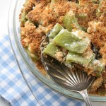 Runner bean and feta gratin