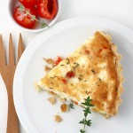 Feta, Peppadew and thyme quiche for a blogger photo afternoon