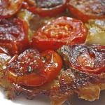Tomato, pesto & thyme tarte tatin