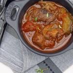 Beef brisket with braai (BBQ) sauce potjiekos