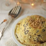 Christmas pudding semifreddo with cinnamon streusel and brandy sauce