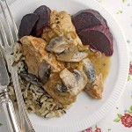 Chicken breasts in a mushroom marsala sauce with roasted beets