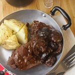 Venison steaks with a red wine, balsamic & shiitake mushroom sauce