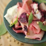Papardelle with goat's cheese, beetroot, rocket & pine nuts