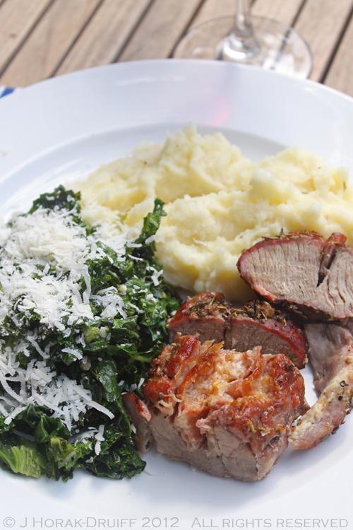 Stuffed pork loin plated © J Horak-Druiff 2012
