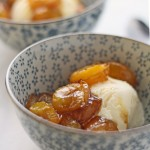 Easy roasted glazed plums with ice cream