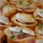 Serrano ham, goats cheese & honey crostini for a housewarming