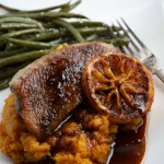 Sous vide duck breasts with a charred orange & Cointreau sauce