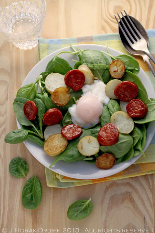 Spinach, chorizo & baby potato salad with a sous vide poached egg ...