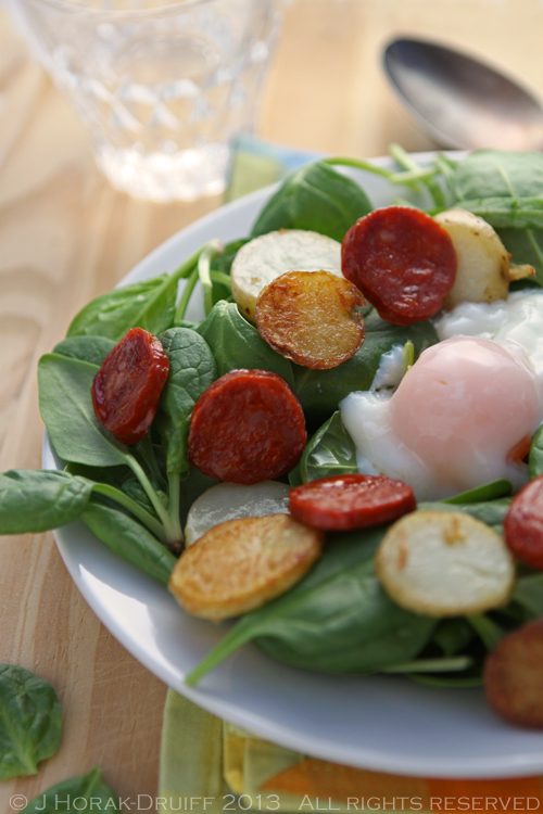 Post image for Spinach, chorizo & baby potato salad with a sous vide poached egg