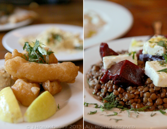 The Real Greek beetroot salad & cod fritters © J Horak-Druiff 2013