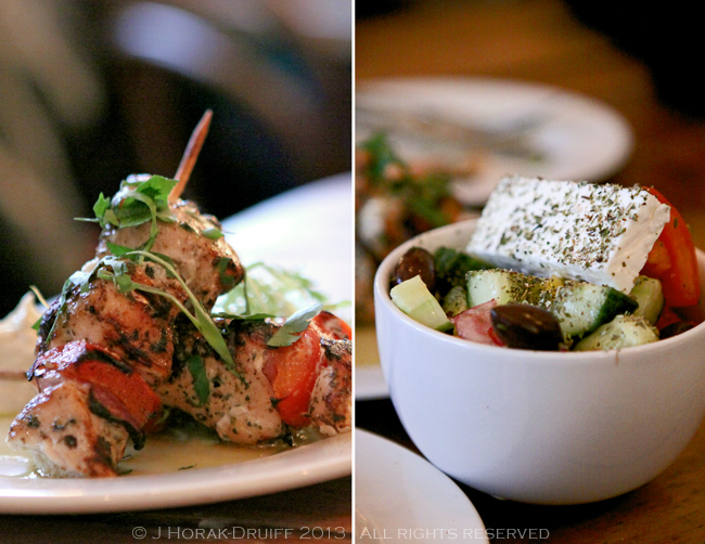 The Real Greek chicken skewers & Greek salad © J Horak-Druiff 2013