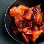 Blood orange & beetroot salsa with pan-fried salmon