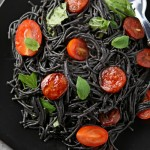Black squid ink pasta with chorizo & basil and a Foodies Larder hamper