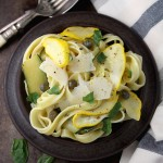 Pattypan squash pasta with capers, chilli and Parmesan