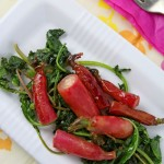 Glazed radishes on garlicky radish greens