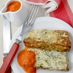 Courgette & feta terrine with a roasted red pepper chipotle coulis