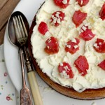 White chocolate cheesecake with rhubarb