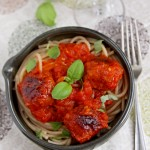 Spaghetti with chorizo meatballs and homemade tomato sauce