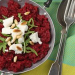 Beetroot risotto with goat's cheese and pine-nuts