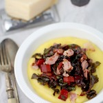 Spicy rainbow chard on creamy polenta