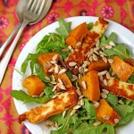 Masala-roasted pumpkin salad with halloumi and rocket