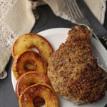Mustard-crusted pork chops with caramelised apple rings