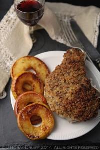mustardcrusted pork chops with caramelised apple rings