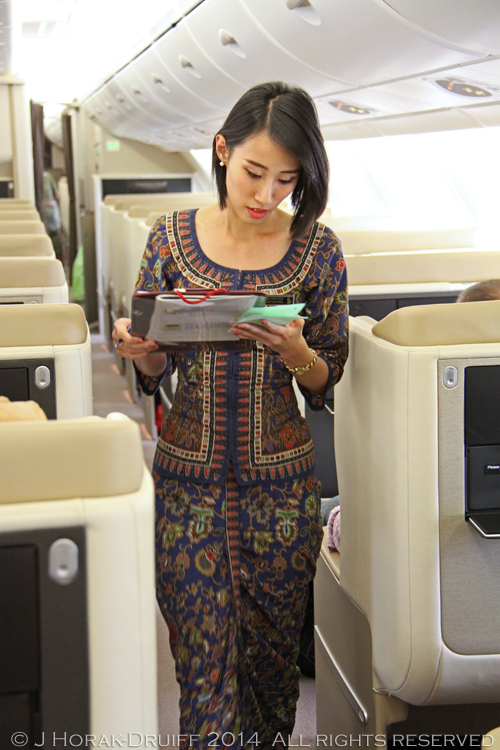 Singapore Airlines hostess blue uniform