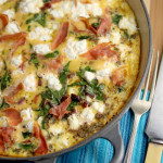 Beet green, feta and Prosciutto frittata