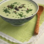 Warm avocado and biltong soup