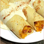 Swede/rutabaga, chorizo and thyme savoury crepes