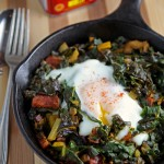 Swiss chard with chorizo and eggs: a one-pan wonder