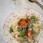 Creamy broccoli, semi-dried tomato and chicken pasta